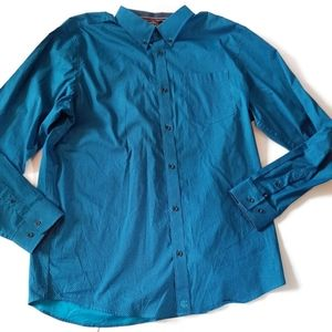 CODY JAMES turquoise blue button down shirt